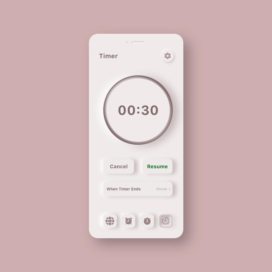 Neumorphic Clock UI Kit 2 - UI Freebies