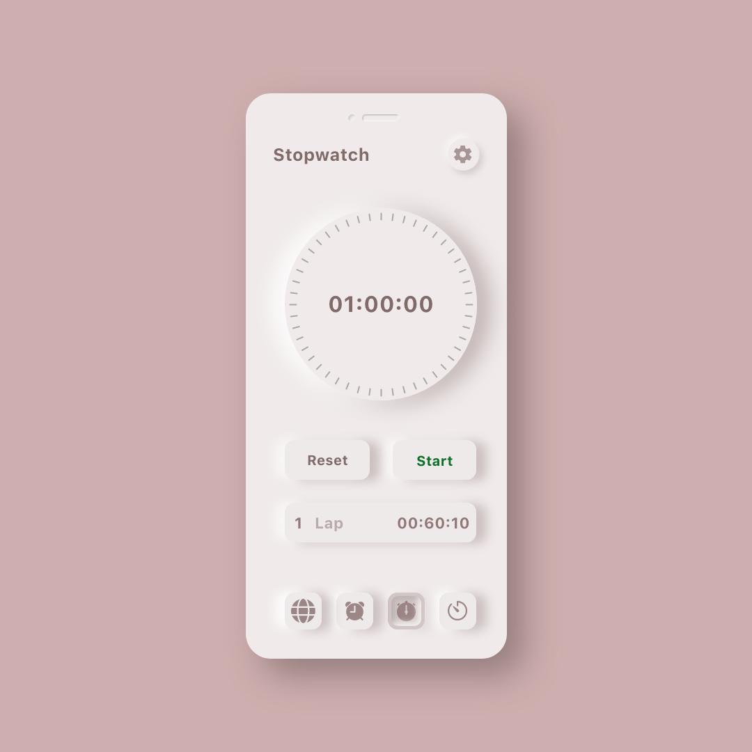 Neumorphic Clock UI Kit 3 - UI Freebies