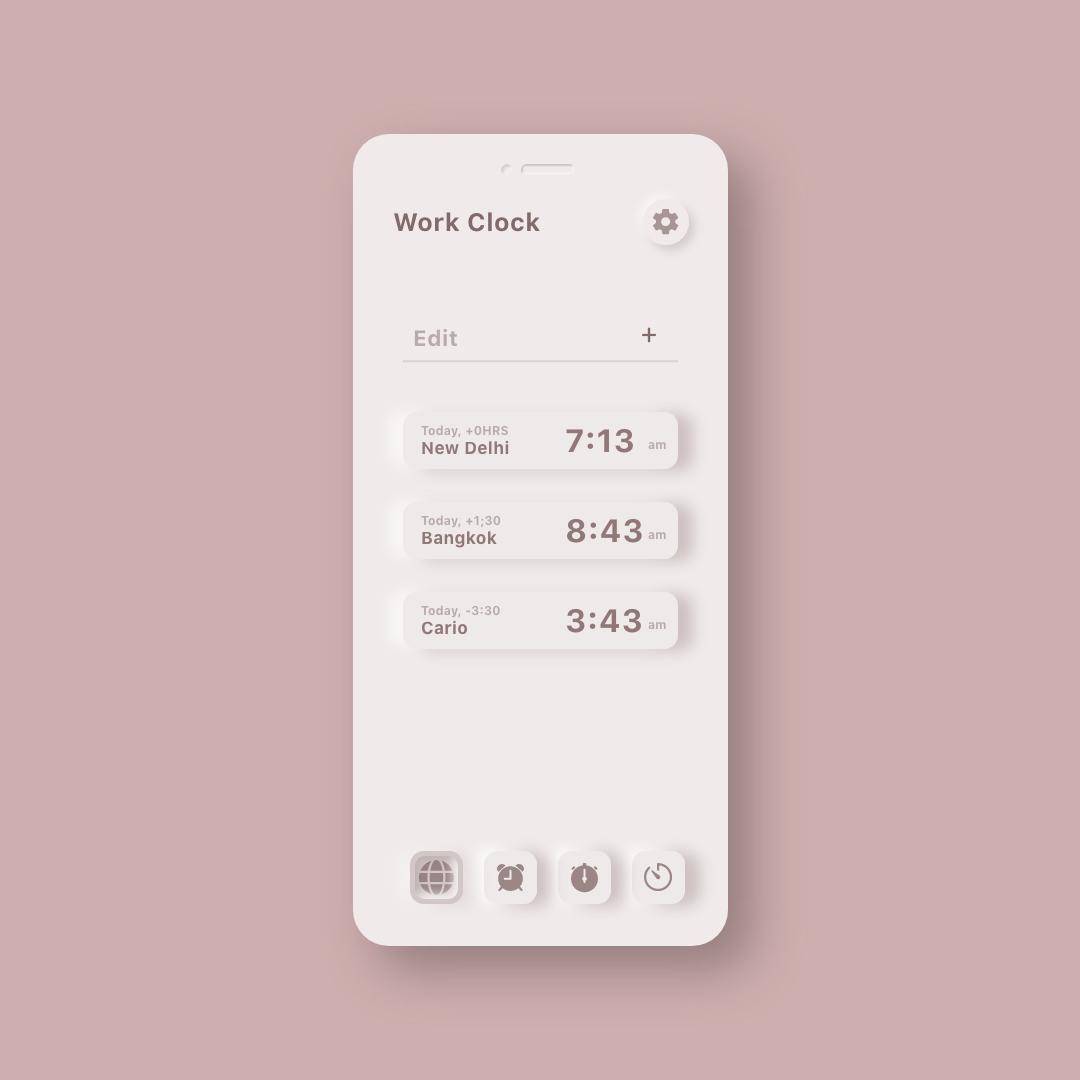 Neumorphic Clock UI Kit 4 - UI Freebies