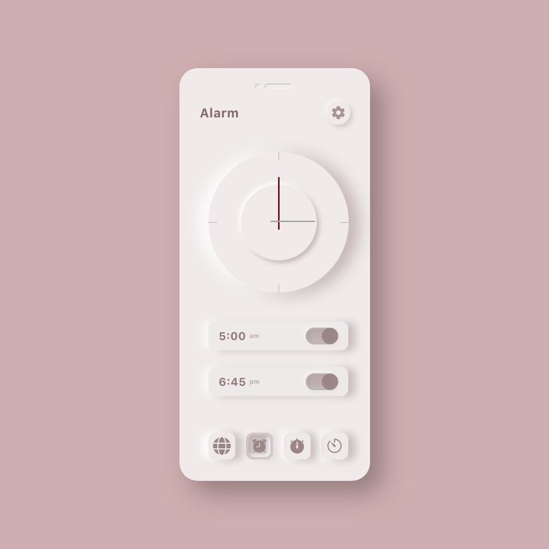 Neumorphic Clock UI Kit 5 - UI Freebies