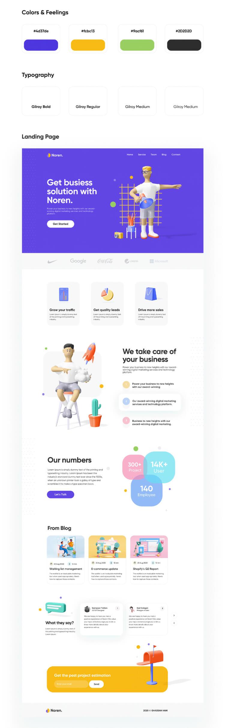 Landing Page UI Kit XD Free - UI Freebies