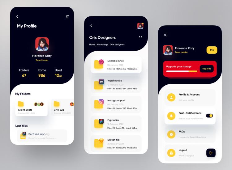 Orix File Manager App 3 - UI Freebies