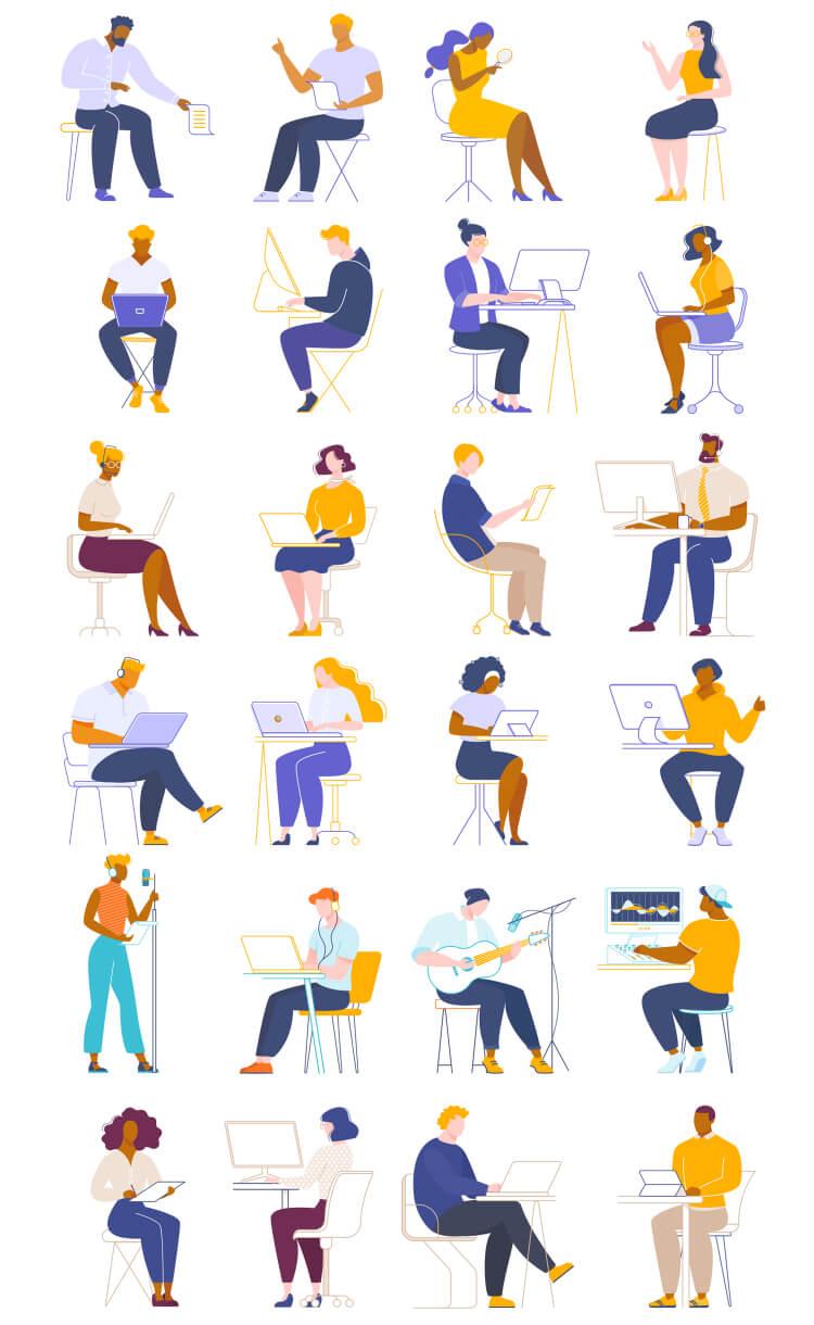 People Working Illustrations 2 - UI Freebies