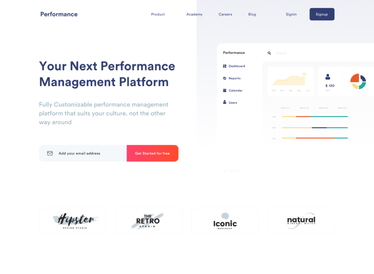 Performance Manager Landing Page 2 - UI Freebies