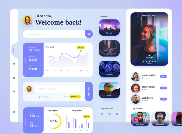 Profile Dashboard UI Kit 2 - UI Freebies