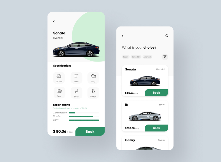 Rental Car App UI Kit 3 - UI Freebies