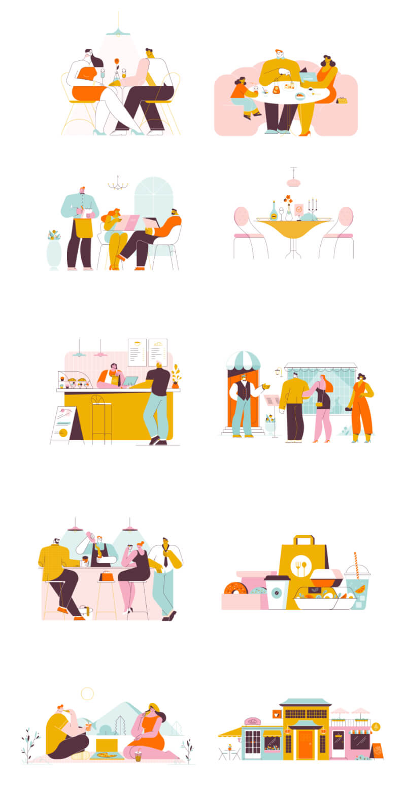 Restaurants Dining Illustrations 3 - UI Freebies