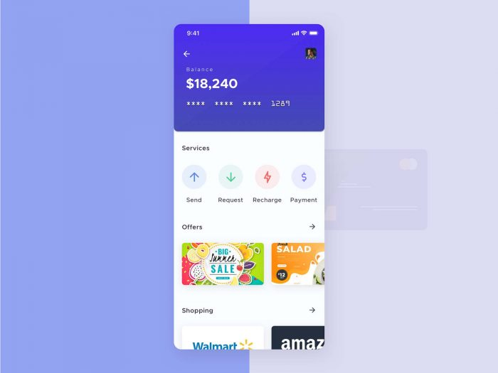 Mobile Wallet UI Design Free - UI Freebies