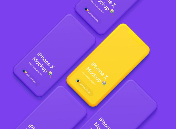 Simple iPhone X Mockups 3 - UI Freebies