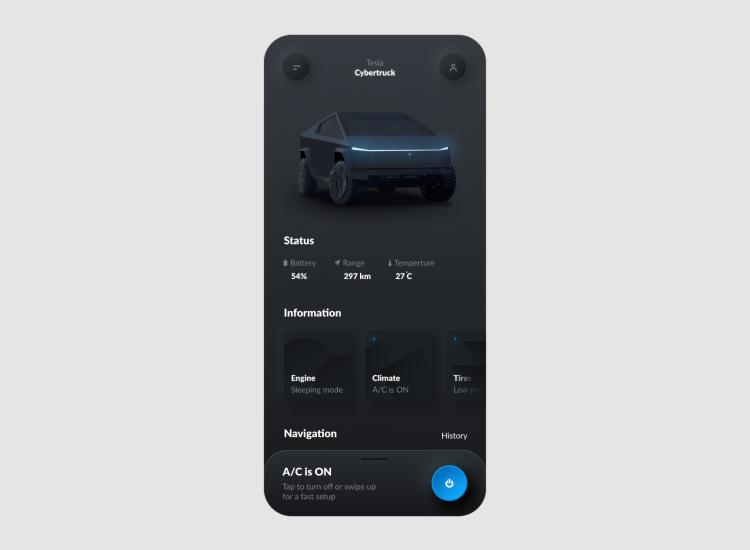 Tesla Smart App Design 3 - UI Freebies
