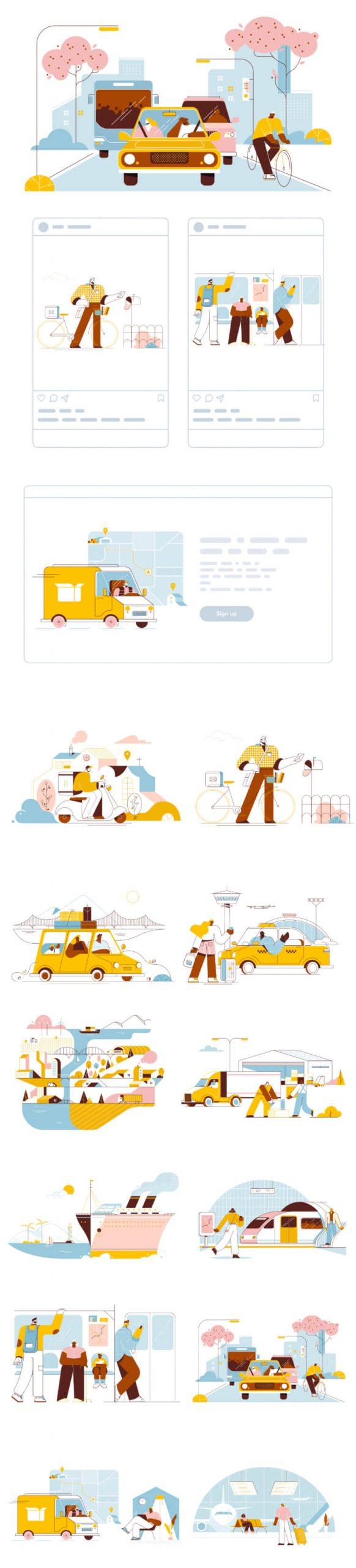 Transport Illustration Free - UI Freebies