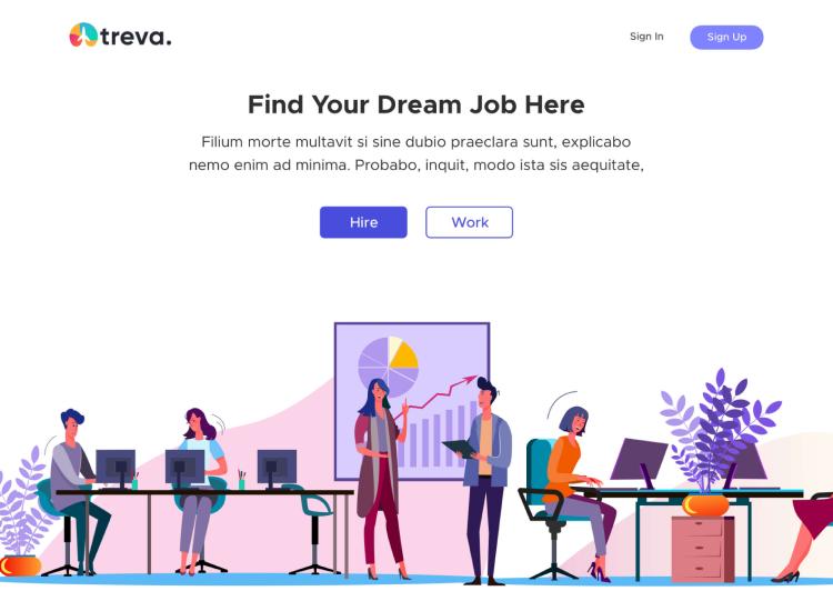 Treva Job Landing Page 2 - UI Freebies
