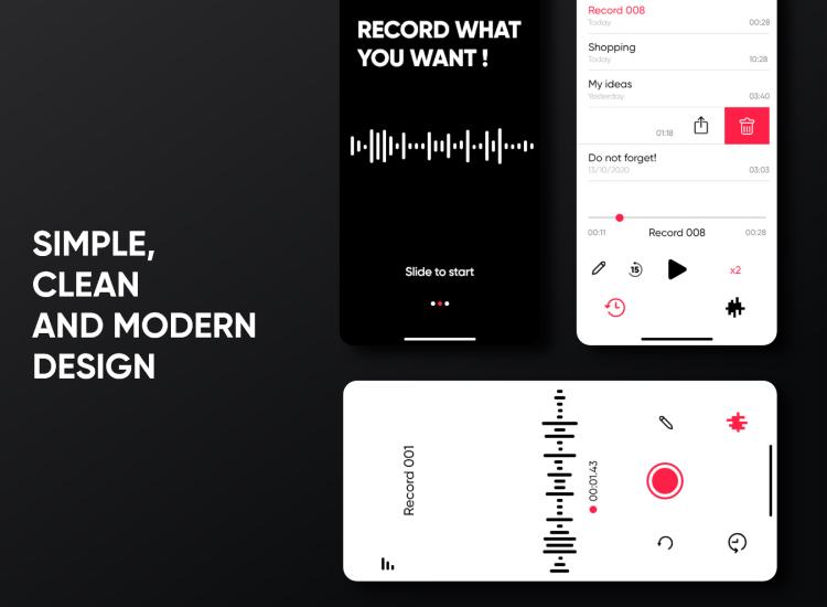 Voice Recorder UI Kit Free - UI Freebies