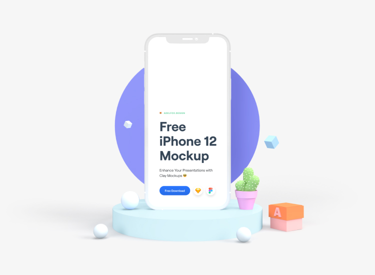 iPhone 12 Clay Mockup Free