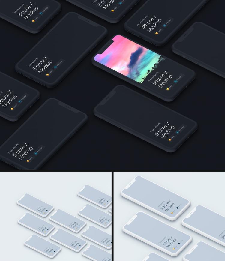 iphone x mockups kit 03 - UI Freebies