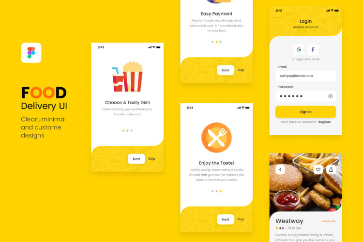 yummy food delivery ui kit 04 - UI Freebies