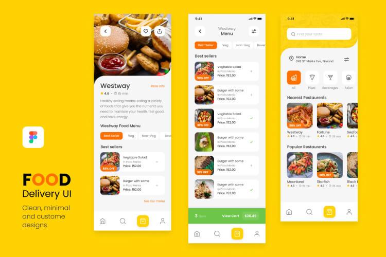 yummy food delivery ui kit 05 - UI Freebies