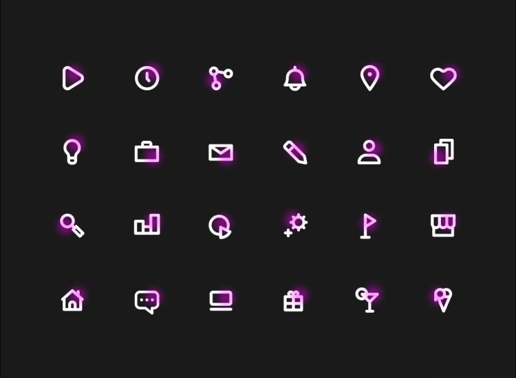 24 Neon Icons