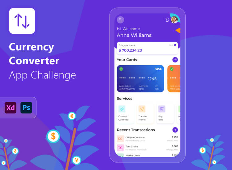 Currency Converter App Free 3 - UI Freebies