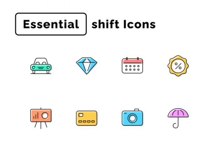 Essential Shift Icons 3 - UI Freebies