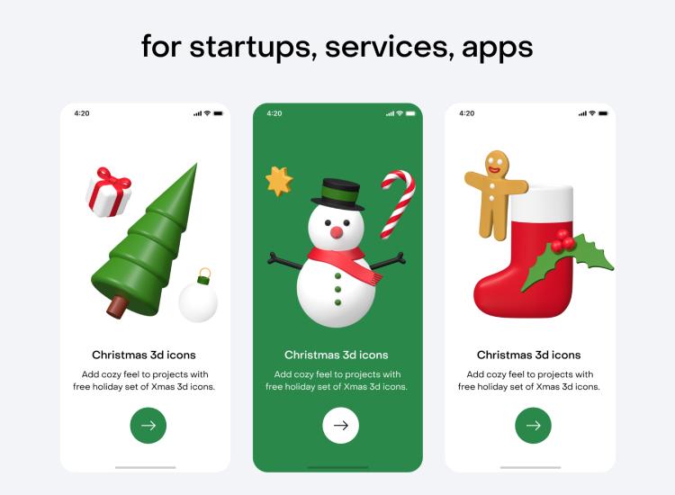Free Christmas 3D Icons - UI Freebies