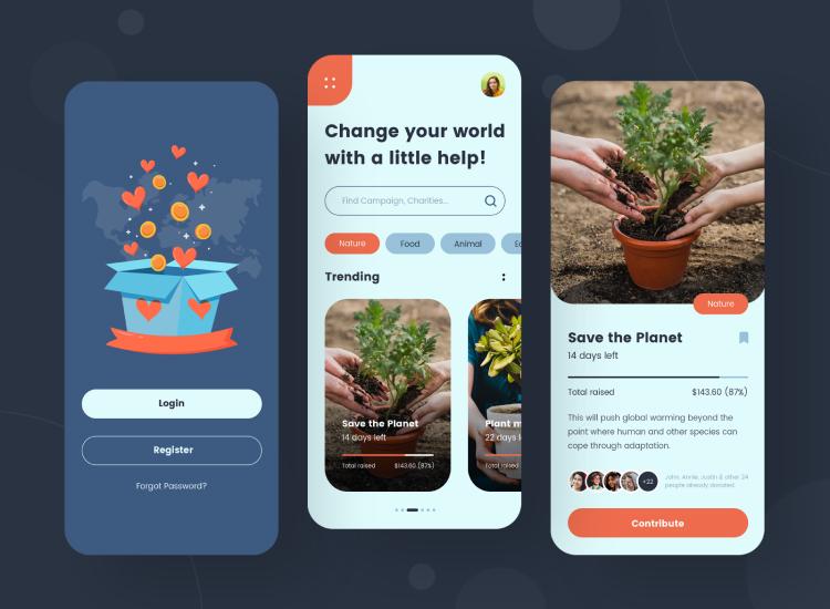 Fundraising App Design Free