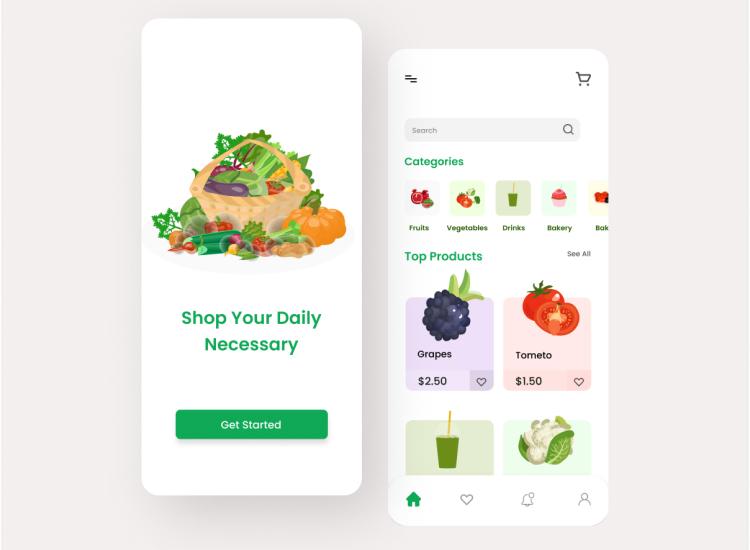 Grocery App UI Design Free Download - UI Freebies