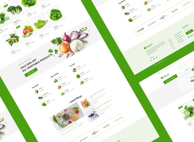 Organic Food Website Design Free - UI Freebies