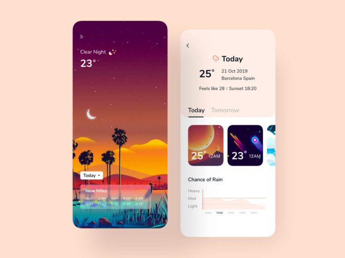 beautiful weather app 13 - UI Freebies