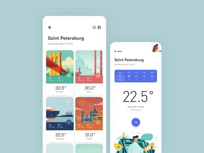 20+ Beautiful Weather App UI Design - UI Freebies