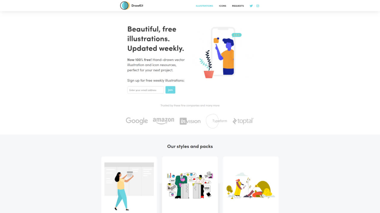 best illustration websites drawkit - UI Freebies