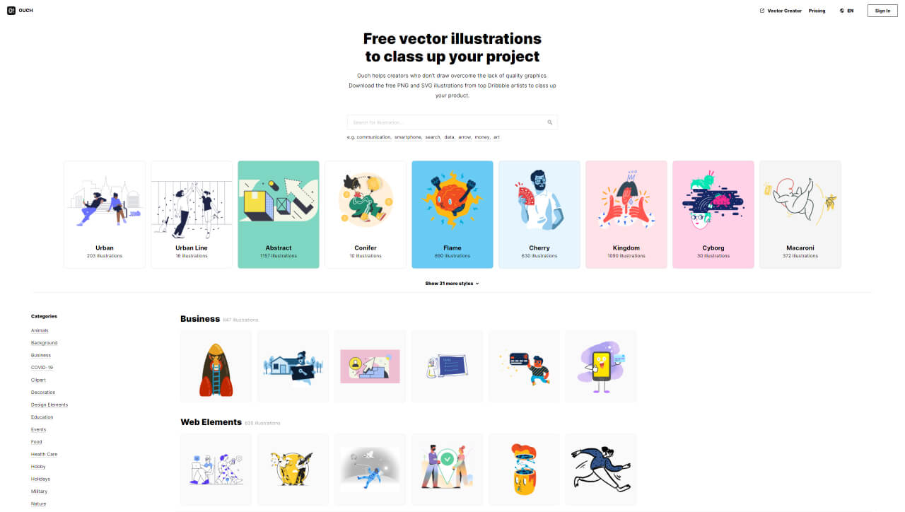 best illustration websites ouch - UI Freebies