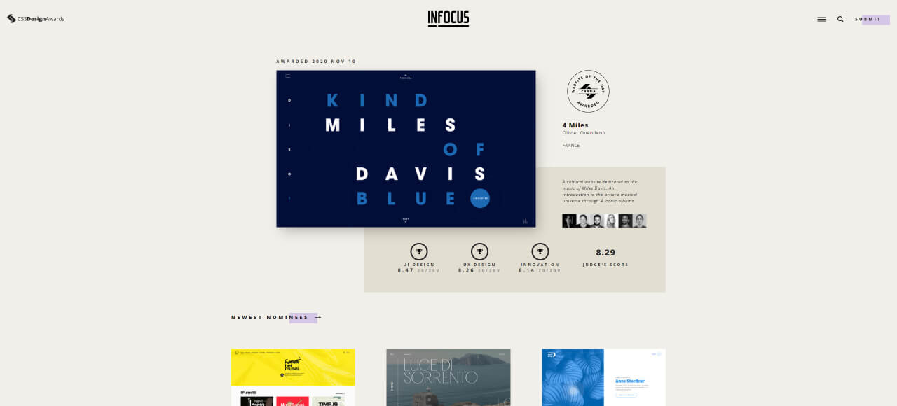 find design inspiration cssda - UI Freebies
