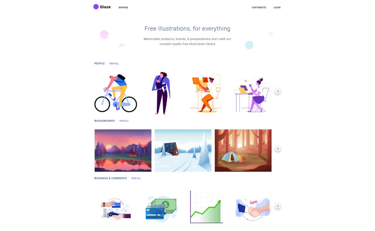 free illustrations websites glaze - UI Freebies