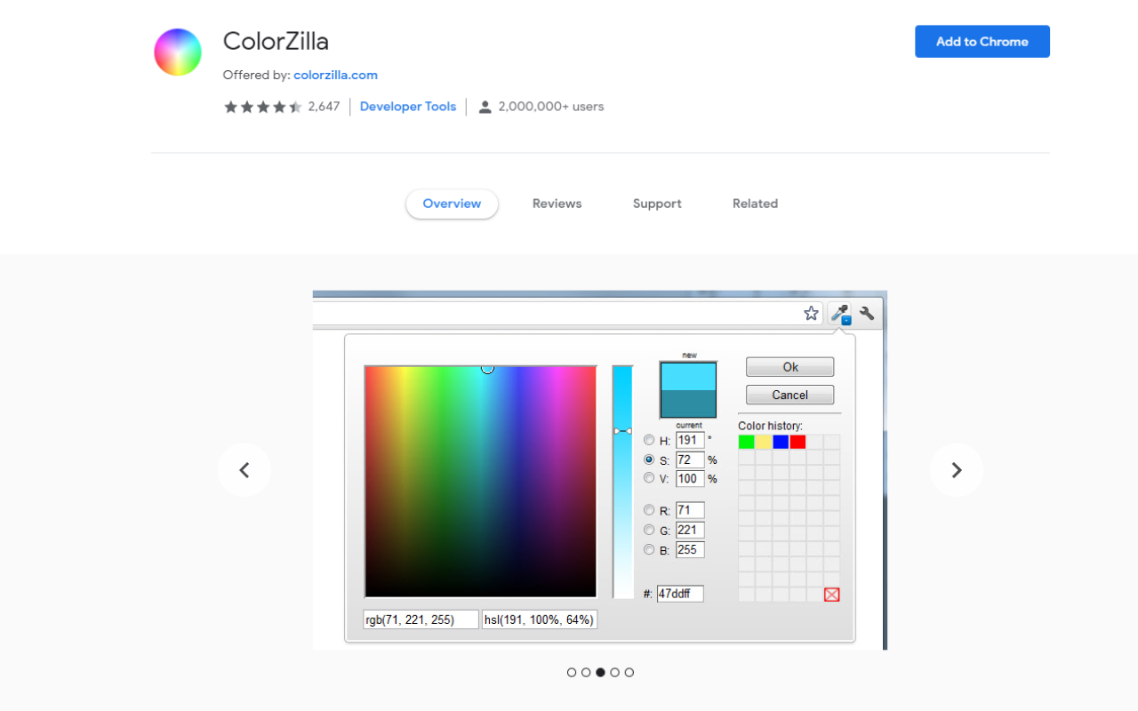 useful chrome extension colorzilla - UI Freebies