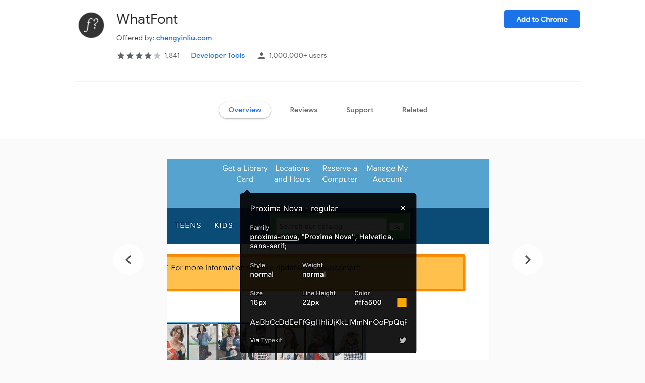 useful chrome extension whatfont - UI Freebies