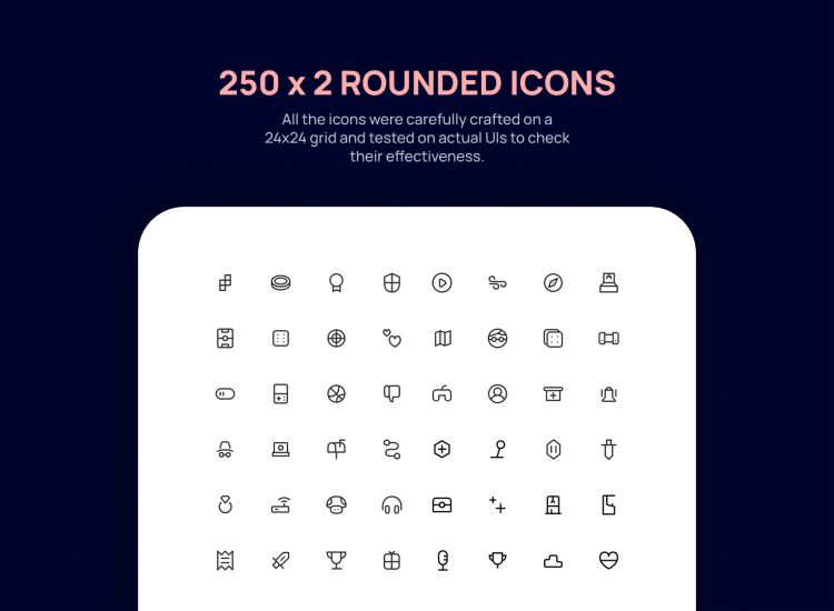 250 Rounded Icons Free