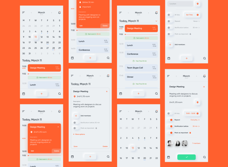 Calendar UI Kit Figma Free - UI Freebies