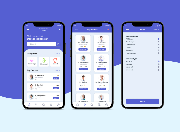 Doctor Appointment App UI Design Free Download - UI Freebies