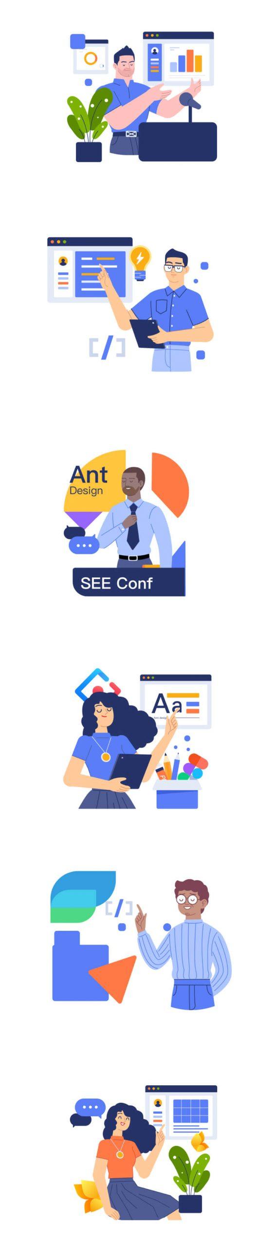 Hitu Illustration Components Free - UI Freebies