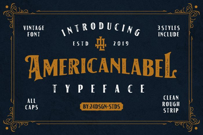 retro vintage fonts american label - UI Freebies