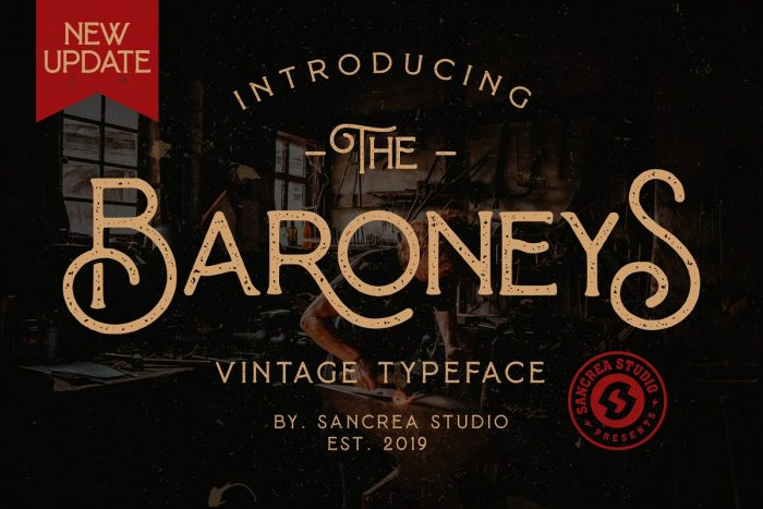 retro vintage fonts baroneys - UI Freebies