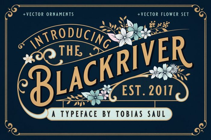 retro vintage fonts black river - UI Freebies
