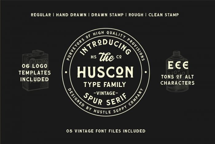 retro vintage fonts huscon - UI Freebies