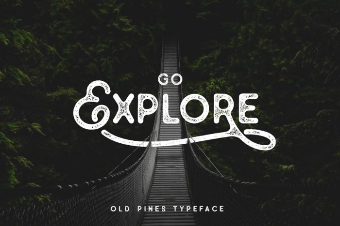 retro vintage fonts old pines - UI Freebies