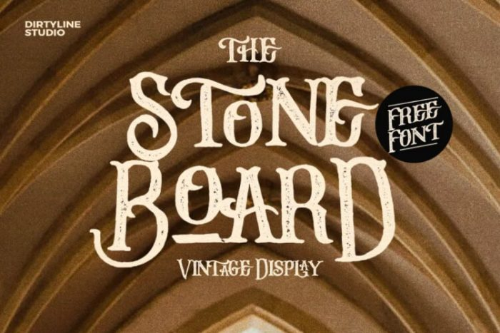 retro vintage fonts stone board - UI Freebies