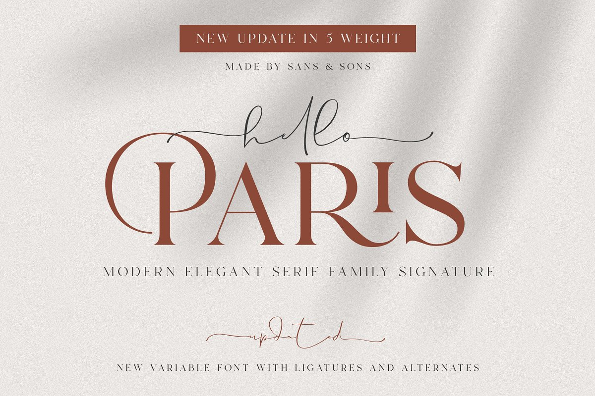 serif fonts hello paris - UI Freebies