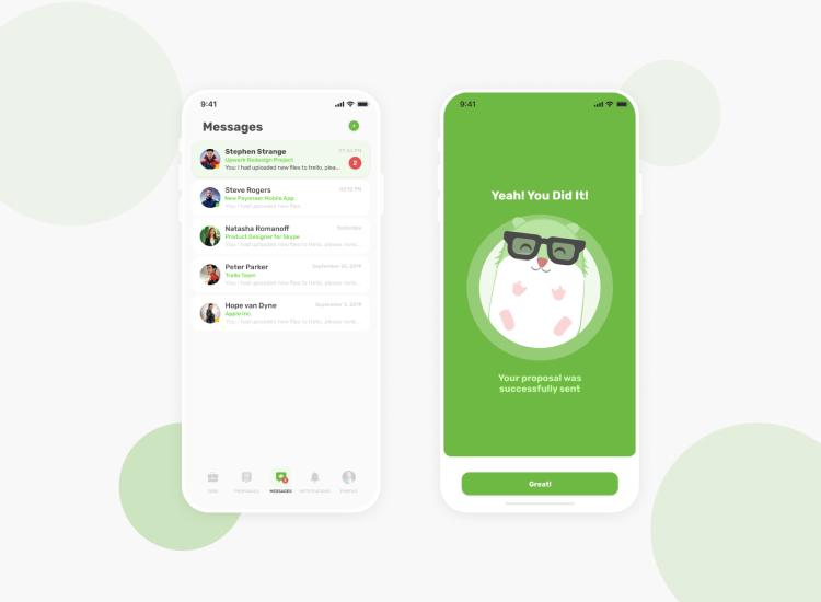 Upwork App Redesign Free - UI Freebies