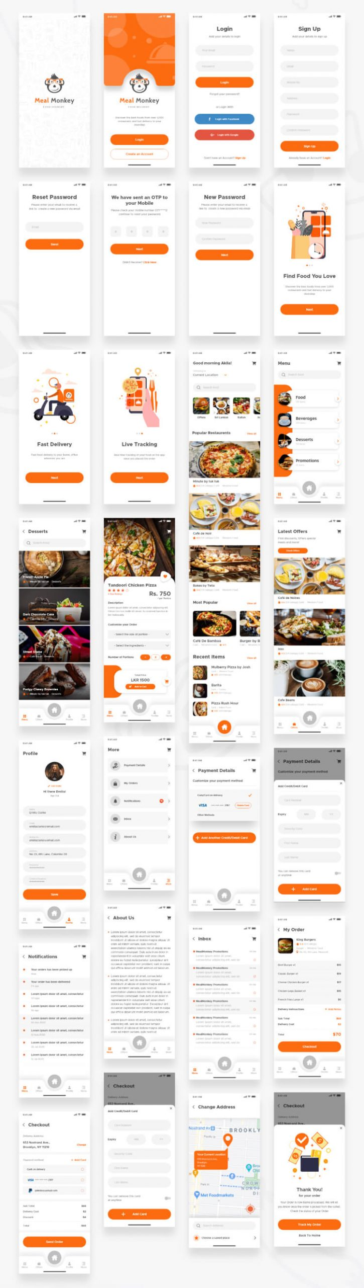 food delivery ui kit for adobe xd 2 scaled - UI Freebies