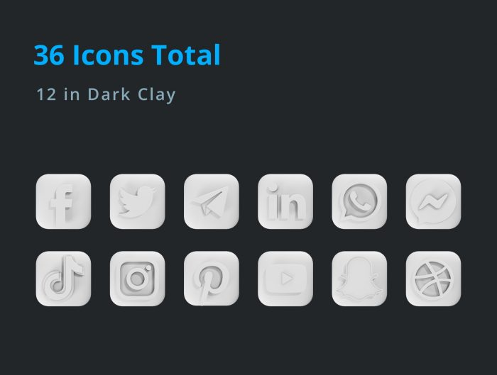 3d social media icon pack free 1 - UI Freebies